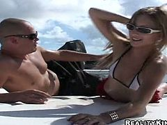 Titless skank Marley gets all her holes pounded deep on a boat