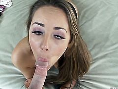 Ella Milano gets face drilled by mans rock hard schlong