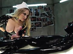 Wearing her kinky latex costume, Aiden plays with her sex slave. He lays on the table, completely covered in black latex. The bitch begins by inserting a probe in his penis and she goes deep in it. Aiden takes her time with the sex slave and does everything flawless. What she will do next?