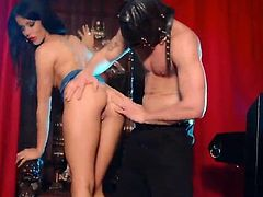 Superb brunette girl with perfect ass lifts her dress up. She gets her smooth pussy fucked hard by Jack Mason.
