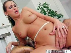 Mandy Bright threesome with a hot creampie