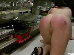 This kinky and desirable brunette Lindy Lane is so damn amazing! She gets tied up and face fucked in the store first and then those dicks stuff her hot snatch.