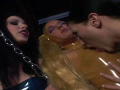 Dirty lesbians in latex are enjoying pure femdom threesome masturbation porn show