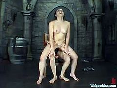 Poor Asian girl gets her ass spanked and vagina fingered deep. Late on she has to lick a dildo and gets toyed deep.