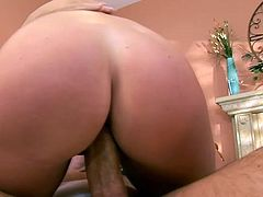 Brunette India Summer getting her natural tits touched and pussy banged doggystyle and cowgirl by horny man with big cock and tattoo.
