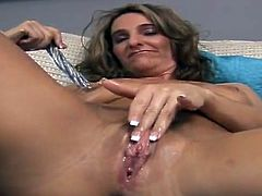 Busty hottie Tiffanee is having some fun alone. She demonstrates her boobs, oils and kneads them and then moves her legs wide apart and pounds her hot snatch with a dildo.