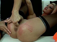 One lesbian punishes another one. She throws her legs over head and spanks her ass without mercy. Watch frantic sex tube video produced by 21 Sextury porn site.