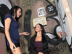 Jewels Jade and Danica Dillon are playing dirty games in a public toilet. They find a cock sticking out of a gloryhole and suck it remarcably well.