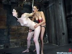 Naughty brunette girl gets tied up and toyed by a fucking machine. After that she also gets her vagina drilled with the dildo by another girl.
