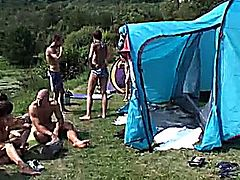 awesome group sex outdoor in camping with lot of dicks and wet chicks