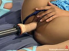 Smoking hot and gorgeous brunette siren Mika Tan is enjoying her time with a fucking machine deep in her tight pussy. Oh, the way she moans is a music!
