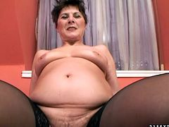 Horny aunty with saggy tits is sucking hard stick in POV. She then gets on top of hard stick jumping as fast as she can.