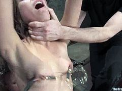 What a beauty is being fucked up in this BDSM bondage! Babe stands with twitches on her nipples and gets spanked. The reward is a hard cock!