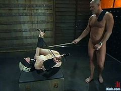 Salacious blonde Lorelei Lee is having fun with Mark Davis indoors. Mark binds Lorelei, attaches clothespegs to her pussylips and then fists her vag and fucks it deep and hard.