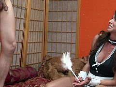 IN her short and sexy leather dress she sucks that large cock of her new friend in her bedroom.Watch this whore enjoying that cock in her sexy mouth in Fame Digital sex clips.