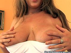 Naughty Czech mom Krystal has a big pair of jugs. She taunts us with her boobs and shows what she has. The fucking slut then licks her nipples and lays on her back, preparing to take care of her pussy.