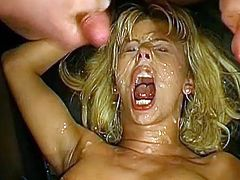 Her tight pussy gets destroyed during wild gang bang porn action