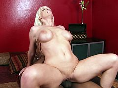 Passionate MILF with saggy natural tits jumps on a solid prick in reverse cowgirl position. She then stands on her all four getting banged hard doggy style. Horny mom takes hard stick deep from behind.