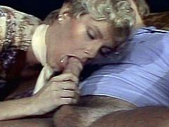 Retro blonde is needy to play nasty and suck this cock like never before