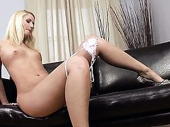 Blond Cat with tiny boobs and shaved pussy is ready to dildo fuck her snatch on cam day and night