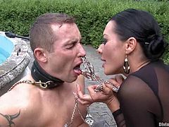 Nasty brunette chick sits on guy's face and then drills his ass with a strap-on. Then she also gives him a blowjob in a garden.