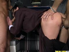 Dude has threesome with a couple of dominant clothed females in this sweet-ass hardcore sex scene right here, check it out!