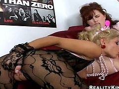 Two curvaceous chicks in nylon bodysuits have some lesbian fun in a bedroom. They lick and also toy each others pussies lying on a bed.