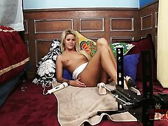 Blonde asian Jessa Rhodes with tiny breasts and trimmed bush gets nude and masturbates with toy