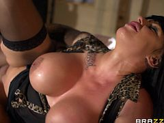 Big breasted temptress Kerry Louise rides on cock like a true cowgirl