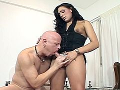 aroused bald headed dude fucks sweet looking brunette ladyboy in doggy style. Later he sucks her juicy cock and jerks it off from time to time.