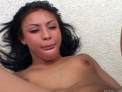 Look at this Asian babe, she's beautiful and wild! The guy impales her tight anus with his big cock and she loves it how he stretches her. The, he shovels his penis in her throat and fucks her ass again. All that hard fucking made him wanna cum a lot so she kneels and receives a huge load all over her face and hair!