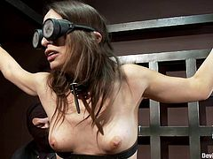 Pretty dark-haired girl Amber Rayne is getting her punishment for being so