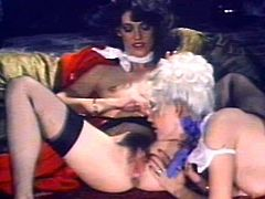 Insolent retro babes are having the best time sharing big cock in vintage hardcore threesome