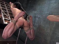 Today her sex victim is Mina Leigh, a charming and sizzling brunette that loves getting painsulted so bad! She get hogtied and drilled in her muff.