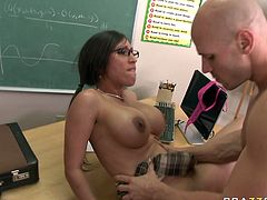 This brunette temptress can hypnotize any man with her big boobs. Sex-starved brunette spreads her legs wide to let her lover pummel her pussy hard. He bangs her mercilessly in and out making her big tits shake from side to side.
