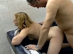 Horny blonde granny Teri is playing dirty games with some dude in the bathroom. She favours the stud with a hot blowjob and then they have some naughty doggy style banging.