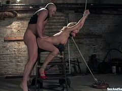 Stunning Gwen Diamond stands on her knees and gives deepthroat blowjob to Mark Davis. After that she gets tied up and fucked from behind.