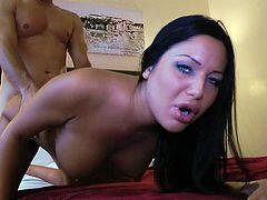 Big tits brunette beauty Angelica Heart feels it deep during top doggy style fuck