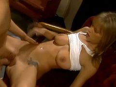 Amazing blonde chick gives nice blowjob and then gets her vagina licked. Later on she lies down on a couch and gets fucked gently.