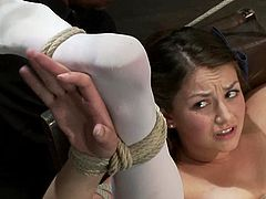 Charming brown-haired chick Allie Haze wearing stockings is getting naughty with some dude in a basement. The man beats the girl's ass with a stick and then rubs her snatch with a vibrator.