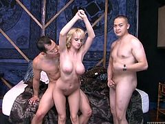 Stunning blonde chick with nice boobs sucks a dick and gets her titties licked in front of her husband. Then she spreads the legs and gets fucked rough.