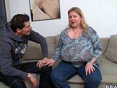 She weighs herself and she has lost two pounds. As a reward, the fat bitch gets to have her nipples licked, by her skinny boyfriend. The fat bitch enjoys it, and he enjoys it too. She juggles her boobs for him.