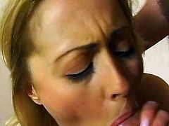 Cute blonde shakes her big tits while sucking before enjoying rough anal fuck