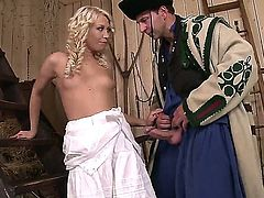 Adorable tempting blonde Lindsey Olsen with natural boobies and tight firm ass in white dress makes out with horny farmer and gets pounded hard from behind in the barn.