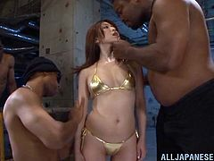 Wild and insane Asian hooker adores hardcore gangbang fucking so this time she will let three big black dudes destroy her tight hairy cunt