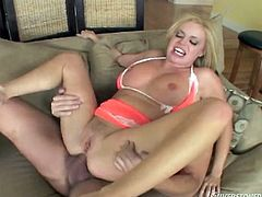 Passionate blonde chick stands on her knees and sucks three big cocks. Then she sucks a dick and gets double penetrated at the same time.