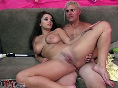Sexy brunette babe toys herself with a vibrator while the guy licks her vagina. Then she fondles her nice boobies and sucks a dick.