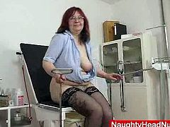 Older amateur mom works in hospital as head nurse. Likes to stuff her hairy pussy with gyno tools.