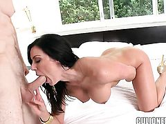 Kendra Lust sucks like a first rate whore in steamy oral action with horny guy