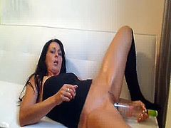 Stuffing A vodka bottle backwards in her huge fuzz